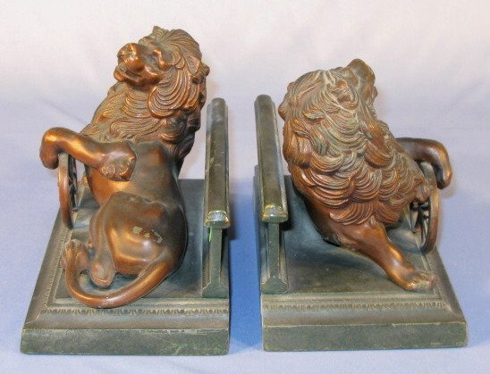 4: Pair Bookends w/Lion & Wheel of Industry - 3