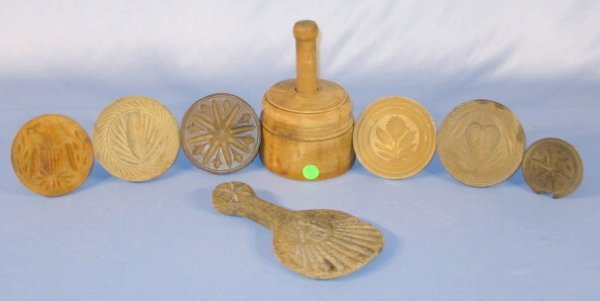 6: Group of 8 Wood Primitive Butter Presses & Paddle