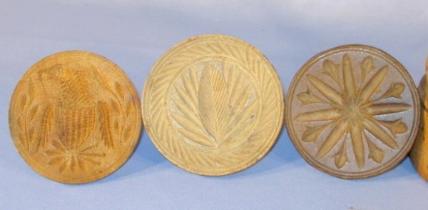 6: Group of 8 Wood Primitive Butter Presses & Paddle - 2