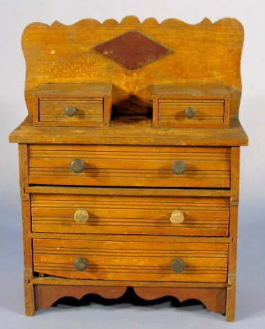 7: Wooden Doll Dresser w/Hankie Drawers