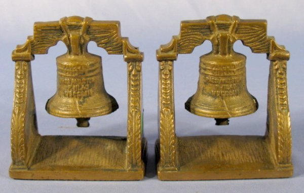 """15: Pair of Bronze """"Proclaim Liberty"""" Bell Bookends"""
