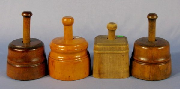 19: Group of 4 Wood Butter Molds
