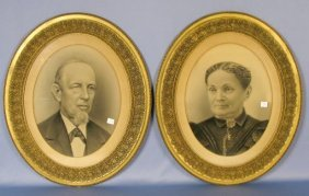 Pair Of Victorian Charcoal & Chalk Portraits