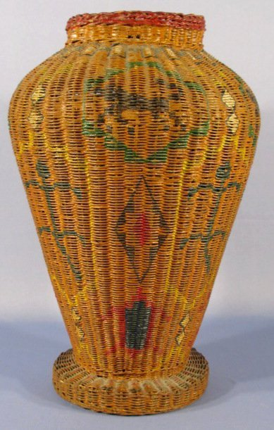 51: Woven Bakset Floor Vase w/ Painted Indian Motif