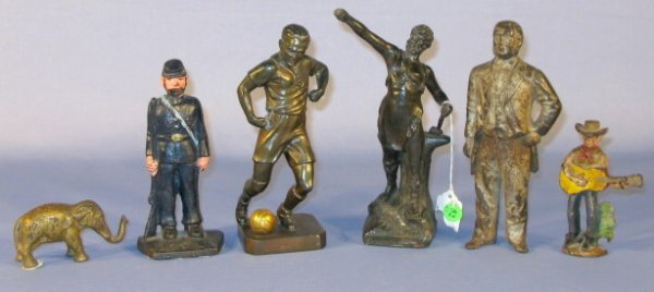 52: Group of 6 Metal Figural Items
