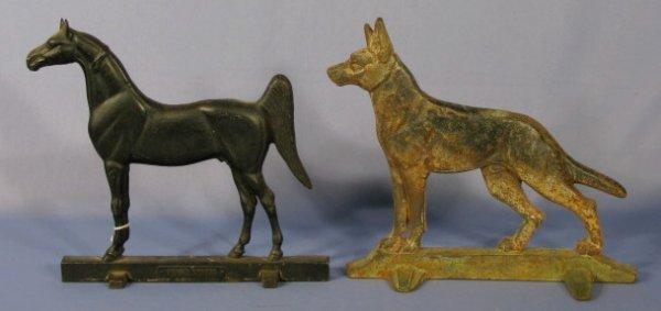 60: Cast Iron Horse and German Shepherd Door Stops