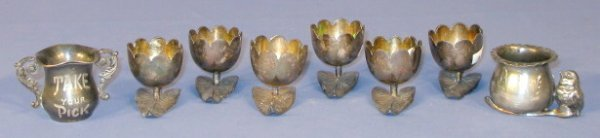 63: Silver Plate Nut Dishes & Toothpick Holders