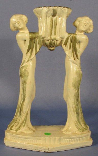 64: Art Nouveau Plaster Figural Women Lamp Base