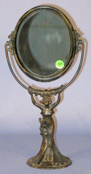 65: Art Nouveau Metal Figural Dressing Mirror