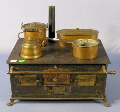 210: Marklin 1890 Tin Plate Toy Stove w/Accessories