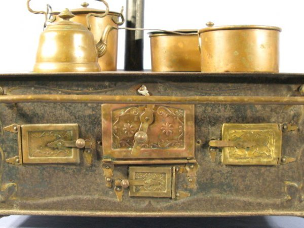 210: Marklin 1890 Tin Plate Toy Stove w/Accessories - 3