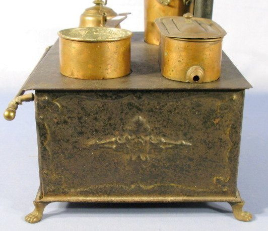 210: Marklin 1890 Tin Plate Toy Stove w/Accessories - 7