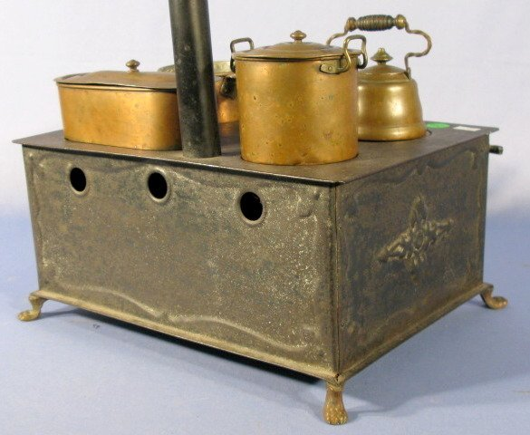 210: Marklin 1890 Tin Plate Toy Stove w/Accessories - 8