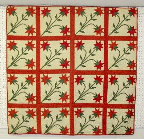 332: Full Size Stylized Flower Summer Quilt