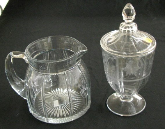 2: Etched Crystal Candy Jar & Water Pitcher