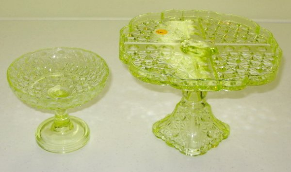 4: 2 Vaseline Glass Cake Plate & Compote