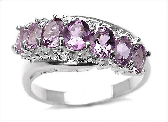 13B: 2.20 Ct Amethyst 7-Stone Oval Sterling Ring