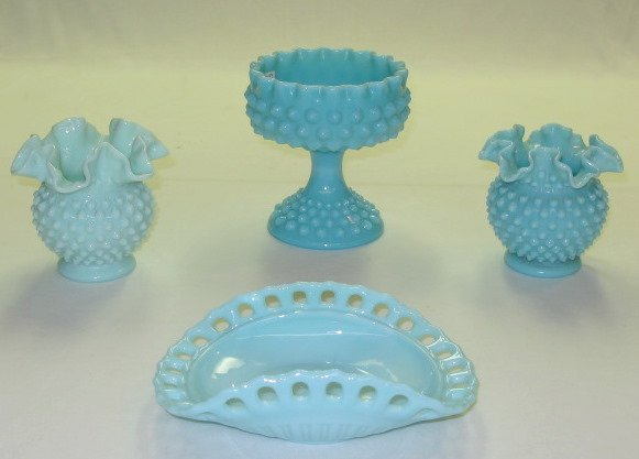 14: 4 Blue Fenton Type Hobnail Glass Items