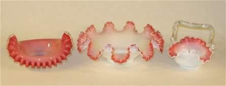 113: 3 Victorian Pink Cased Art Glass Bowls & Basket
