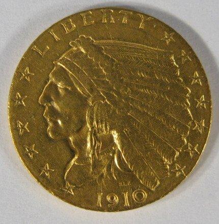 6: Coins - 1910P Gold Quarter Eagle-EF-40
