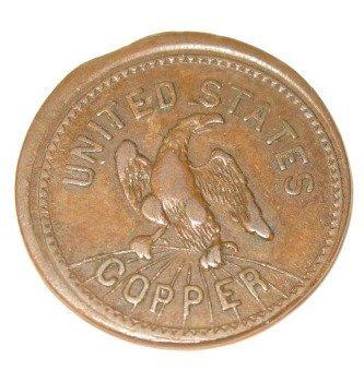 """8: """"United States Copper"""" Token w/Heraldic Eagle"""