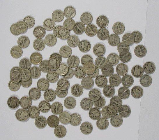 9: Coins - 100 Mercury Dimes