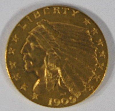 15: Coins - 1909P Gold Quarter Eagle