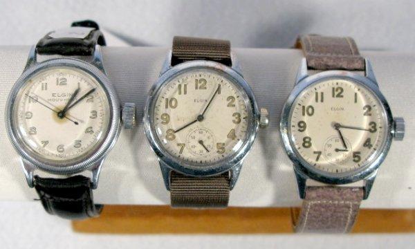 8: 3 Elgin Military Wrist Watches