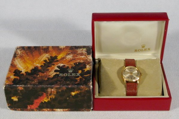 259: Rolex 18K Oyster Wrist Watch in Box
