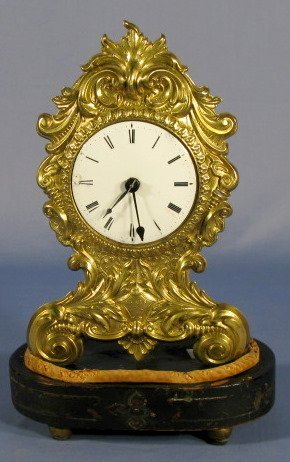 """11: French Embossed Brass """"Paris"""" Dome Clock"""