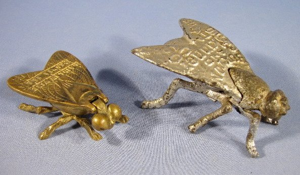 18: 2 Figural Match Holders w/Advertising