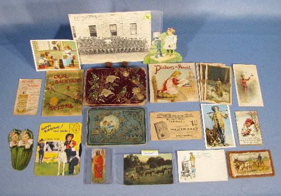 22: Group of Trade Cards, Postcards & Books