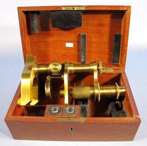 24: Brass Microscope in Mahogany Box