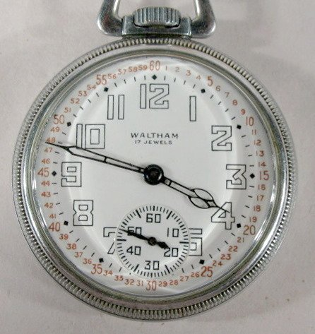 21: Waltham 16A 17J 16S Ferguson Dial Pocket Watch