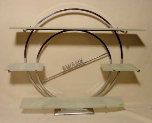 3001: Chrome & Frosted Glass Swank Dealer's Shelf NR