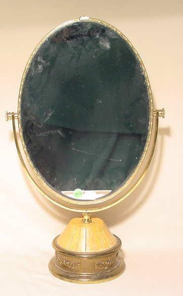 3002: Double Mirror on Wood & Metal Base NR