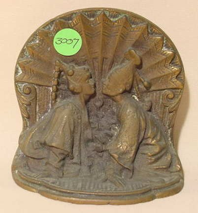 3007: Single Bronze Bookend with Relief Siamese Couple