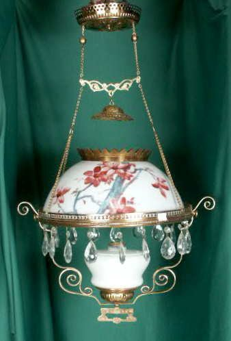 3009: Decaled & Hand Colored Milk Glass Hanging Lamp NR