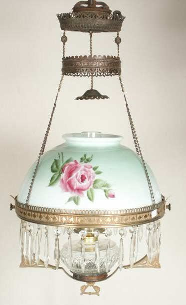 3011: Brass Victorian Hanging Lamp HP Roses NR