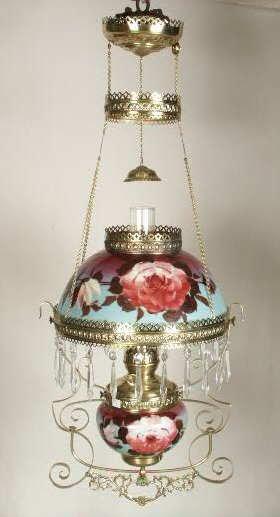3015: HP Roses Shade & Font Hanging Lamp NR
