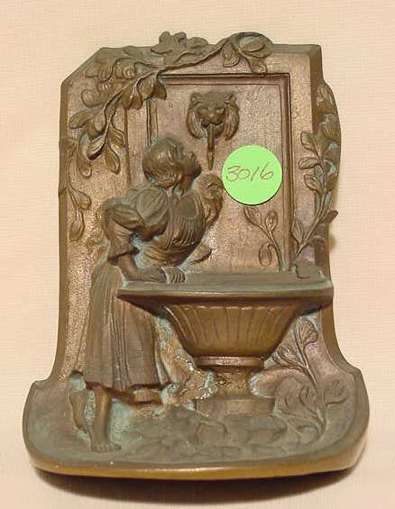 3016: Single Bronze Bookend with Relief Young Woman NR