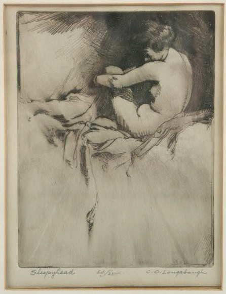"3018: C.O. Longabaugh ""Sleepyhead"" Dry Point Engraving"