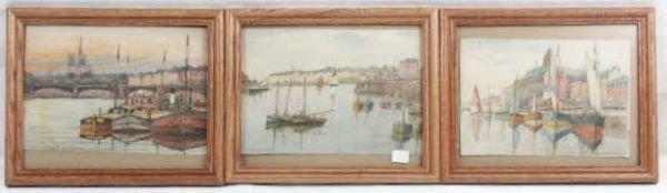 3019: 3 G. Charpentier Watercolor & Mixed Media Art NR