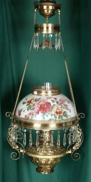 3020: Decaled & HP Floral Hanging Lamp NR