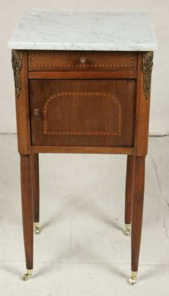 3020A: Inlaid Smoking Stand with Marble Top NR