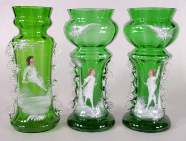 5: 3 Mary Gregory Green/Clear Vases