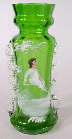 5: 3 Mary Gregory Green/Clear Vases - 2