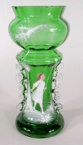 5: 3 Mary Gregory Green/Clear Vases - 4