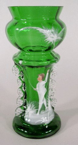 5: 3 Mary Gregory Green/Clear Vases - 6