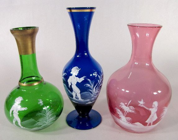 7: 3 Mary Gregory Style Glass Items